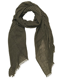 Classic Spot Printed Wool Scarf Olive