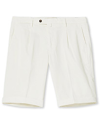 Pleated Cotton Shorts Off White