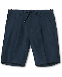 Linen Drawstring Shorts Navy