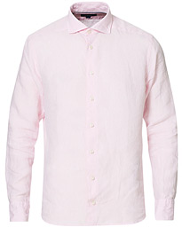 Slim Fit Wide Spread Linen Shirt Pink