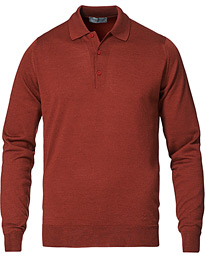 Belper Wool/Cotton Polo Pullover Paprika