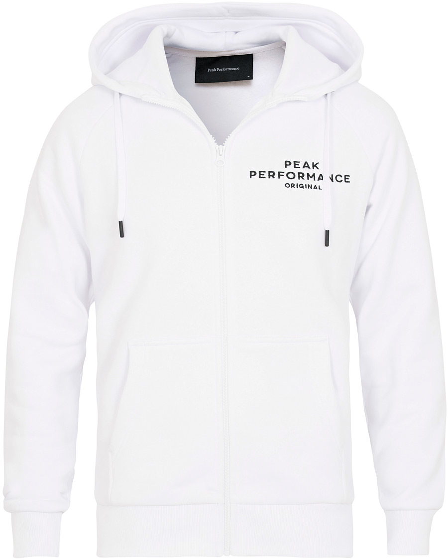 Peak Performance Logo Full Zip Hoodie White osoitteesta CareOfCar 3e30c26971