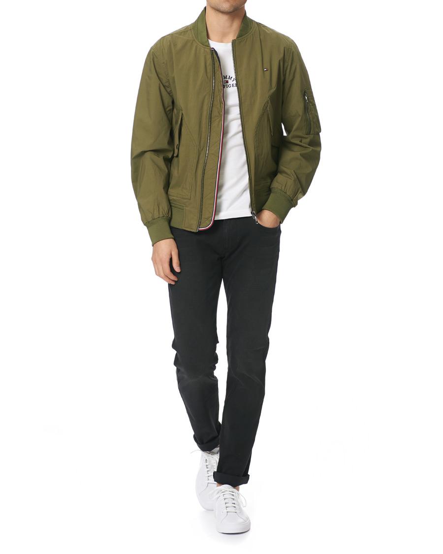 Tommy Hilfiger Lightweight Cotton Bomber Jacket Moss Green